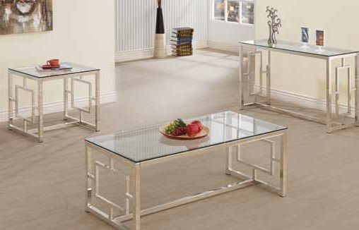 Contemporary Satin Glass Metal Coffee Table Set | Living Regarding Mishie Contemporary Champagne 2 Piece Accent Tables Set By Foa (View 15 of 25)