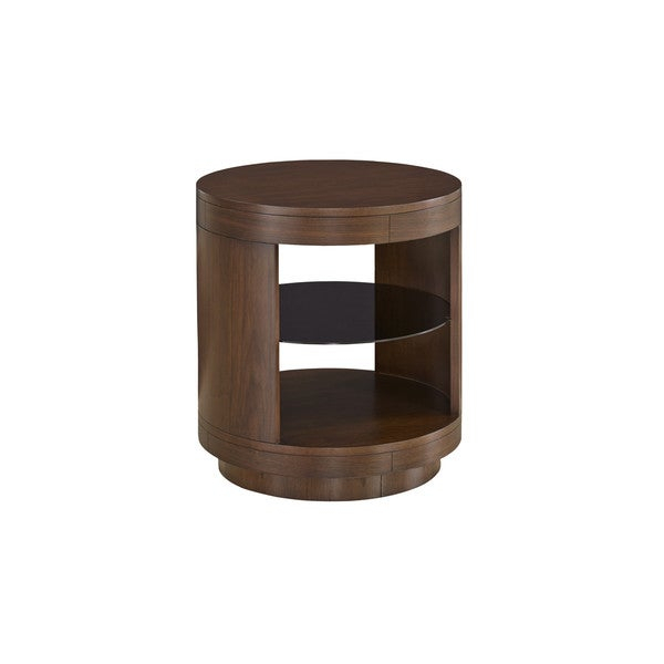 Contemporary Tessa Walnut Finish End Table Throughout Gracewood Hollow Dones Traditional Cinnamon Round End Tables (View 7 of 25)