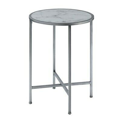 Convenience Concepts Gold Coast Marble Round End Table, Marble/silver – 413455S 95285420285 | Ebay Intended For Silver Orchid Bardeen Round Coffee Tables (View 20 of 25)
