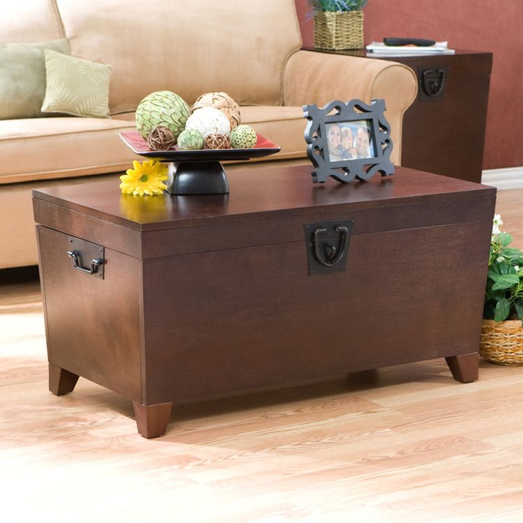 Copper Grove Liatris Espresso Trunk Cocktail Table, Brown Intended For Copper Grove Liatris Black And Satin Silver Coffee Tables (View 8 of 25)