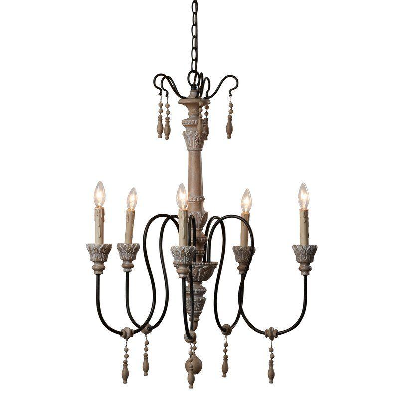 Corneau 5 Light Chandelier | Driftwood Chandelier | Candle Regarding Corneau 5 Light Chandeliers (Image 12 of 20)