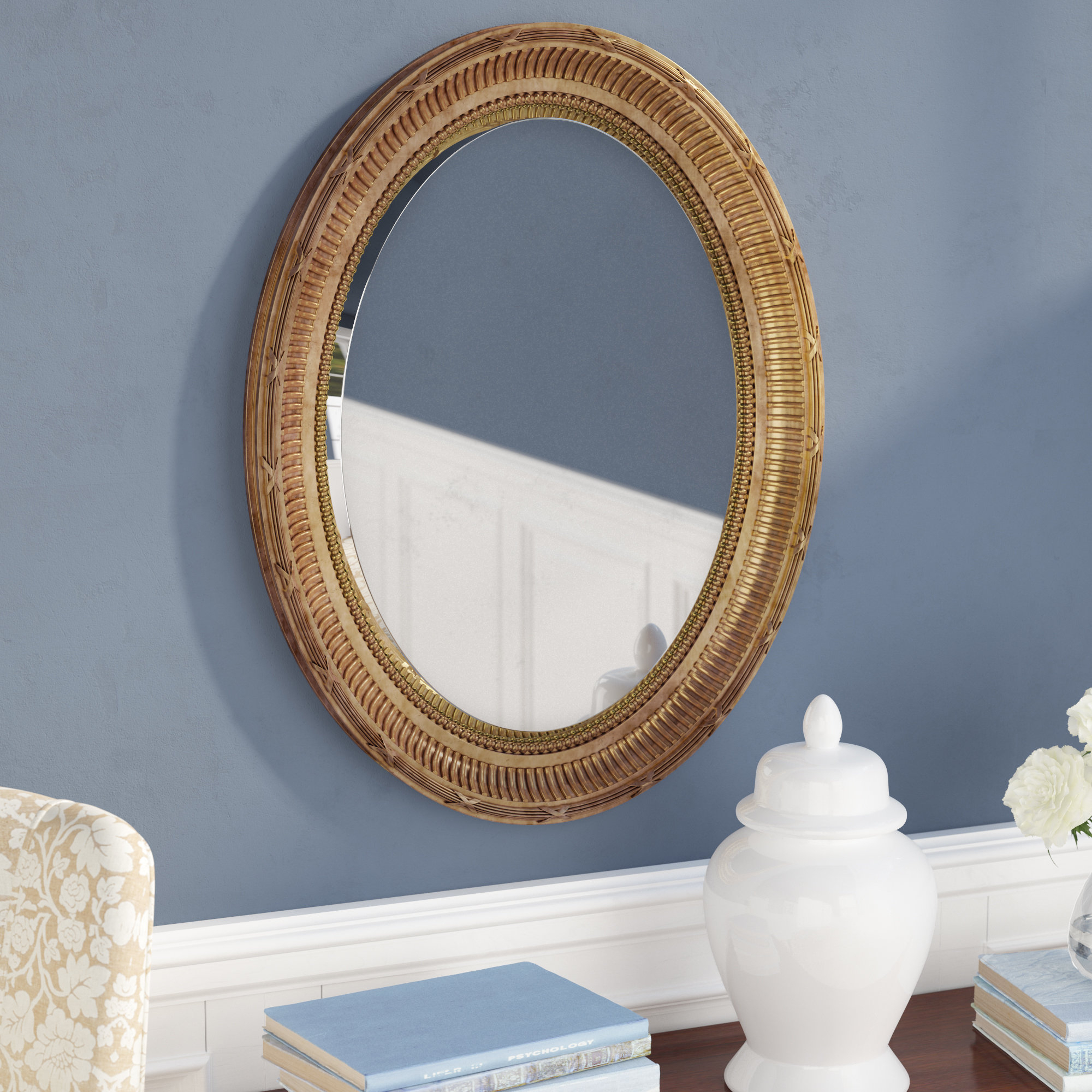 Country Gold Oval Accent Mirror Pertaining To Mcnary Accent Mirrors (View 12 of 20)
