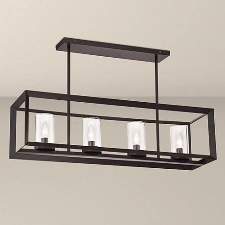 """Cove Point 34 1/2"""" Wide Open Frame Rectangular Chandelier Pertaining To Hinerman 5 Light Kitchen Island Pendants (View 22 of 25)"""