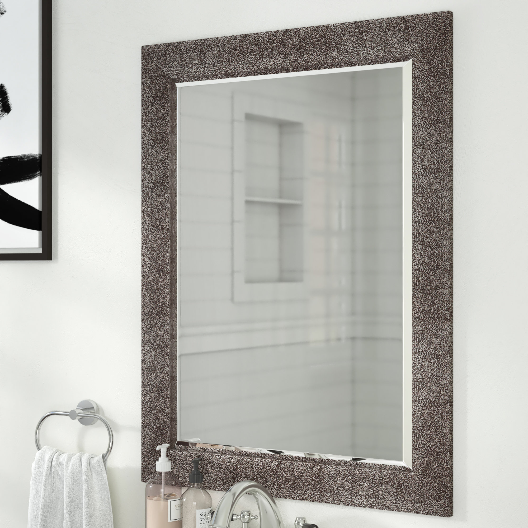 Crackled Antique Traditional Beveled Accent Mirror Throughout Traditional Beveled Accent Mirrors (Image 4 of 20)