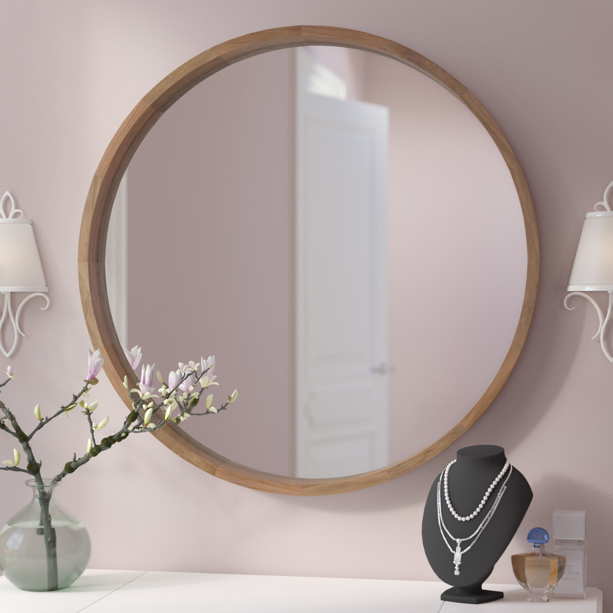 Cream Wall Mirror | Wayfair Regarding Pfister Oval Wood Wall Mirrors (Image 3 of 20)
