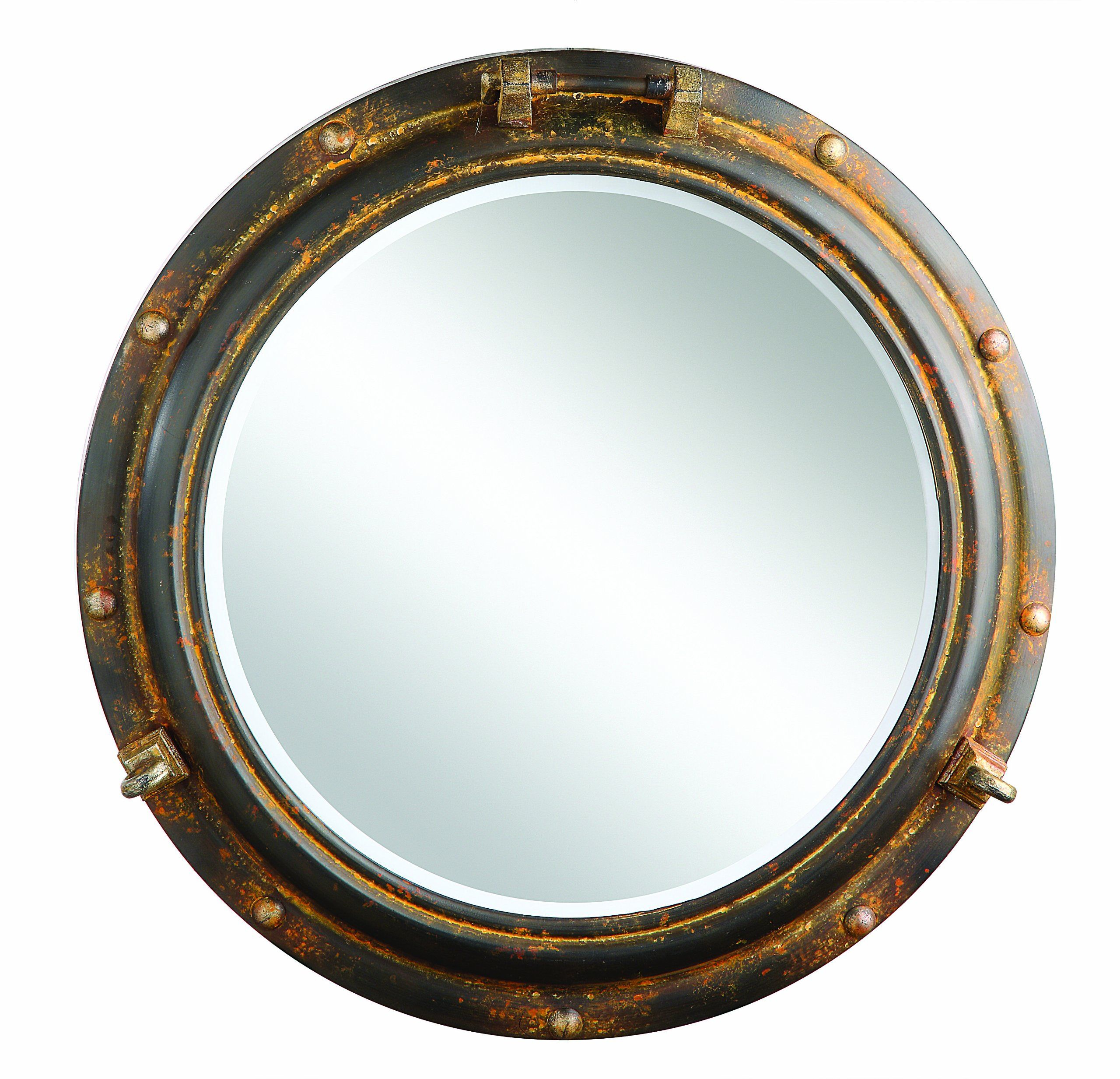 Creative Co Op Porthole Mirror, Rust Metal (Image 11 of 20)