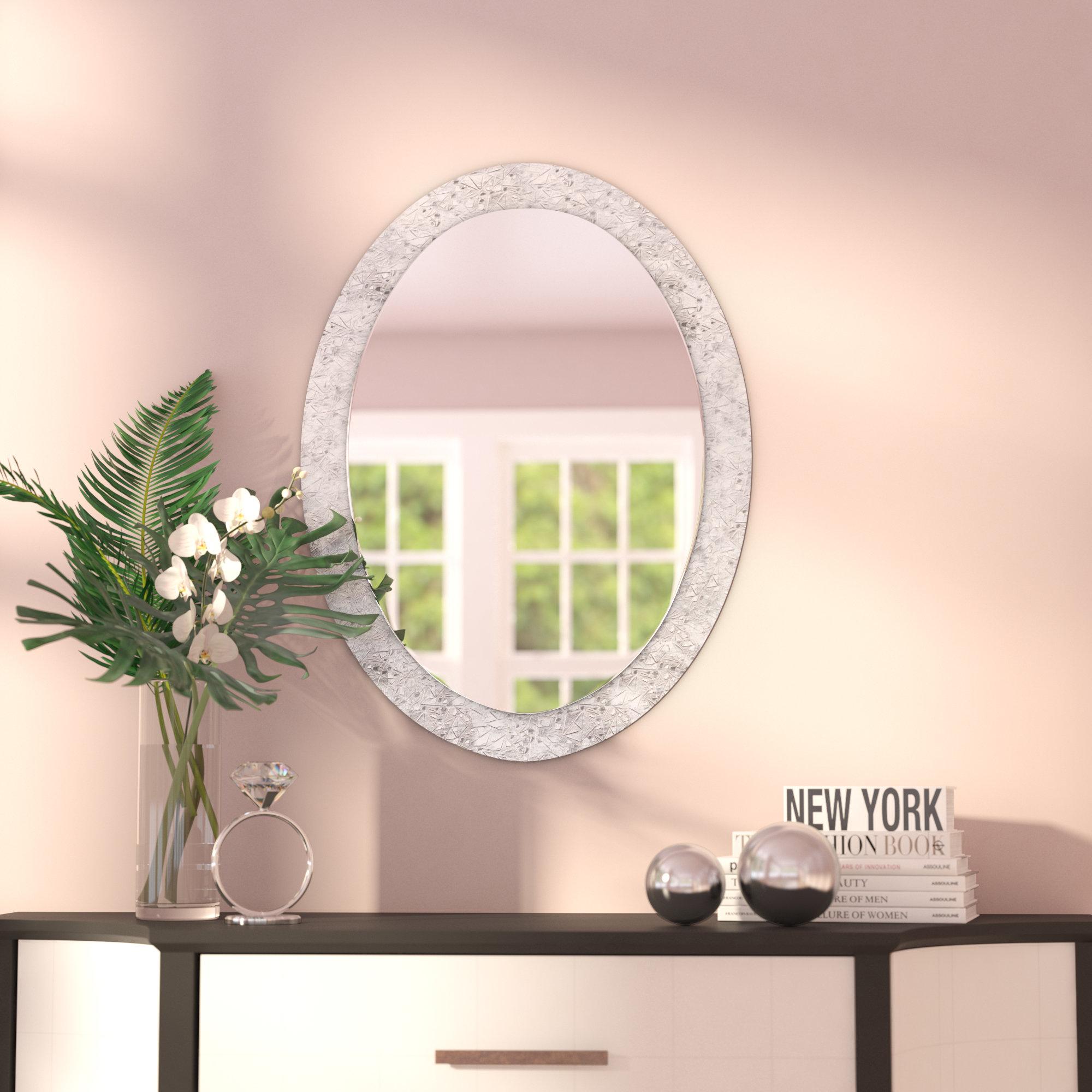 Crystal Mirror Decor | Wayfair Within Sajish Oval Crystal Wall Mirrors (View 3 of 20)