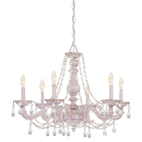 Crystorama Sutton 6 Light Antique White/ Crystal Chandelier Intended For Sherri 6 Light Chandeliers (View 15 of 20)