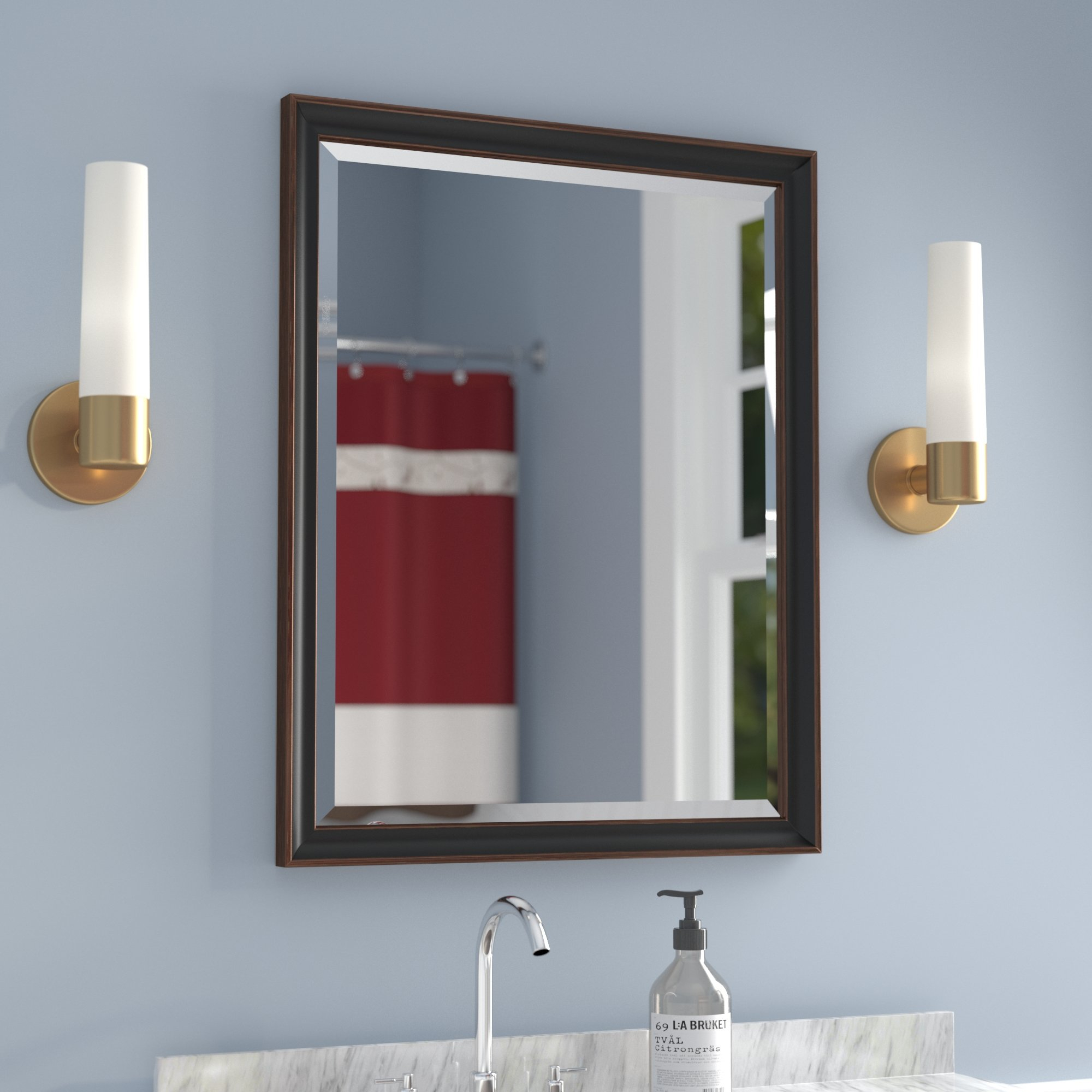 Culley Framed Beveled Wall Accent Mirror Inside Dedrick Decorative Framed Modern And Contemporary Wall Mirrors (Image 5 of 20)