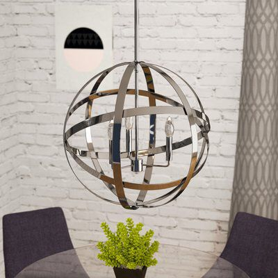 Curcio 3 Light Globe Chandelier In 2019 | Lighting | Globe In La Sarre 3 Light Globe Chandeliers (Photo 12 of 20)