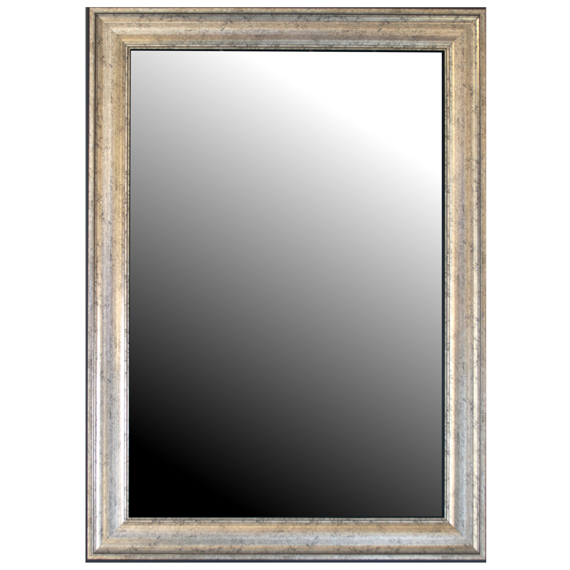 Curren Vintage Beveled Silver Wall Mirror Pertaining To Kristy Rectangular Beveled Vanity Mirrors In Distressed (Image 7 of 20)