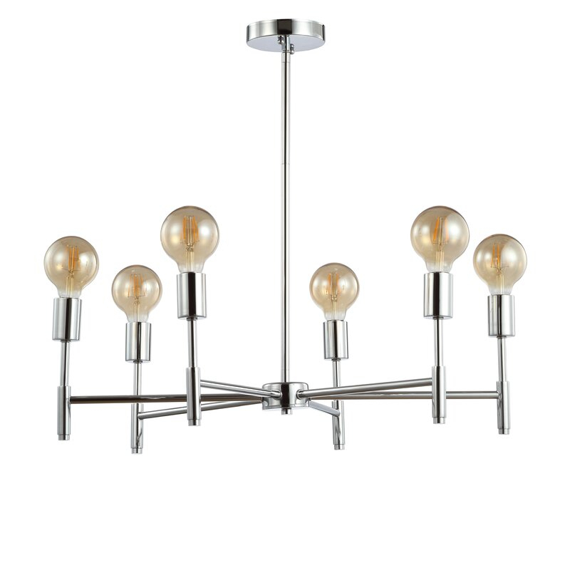 Cushing Adjustable Height Metal 6 Light Sputnik Chandelier With Sherri 6 Light Chandeliers (View 4 of 20)