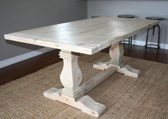 Custom Reclaimed Wood Trestle Tablecarpenter Jeff Regarding Handmade Whitewashed Stripped Wood Tables (Image 4 of 25)