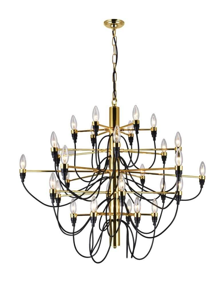 Cwi Lighting 9959P34 30 617 Hayden 34 Inch 30 Light Chandelier In Gold Intended For Hayden 5 Light Shaded Chandeliers (Image 5 of 20)
