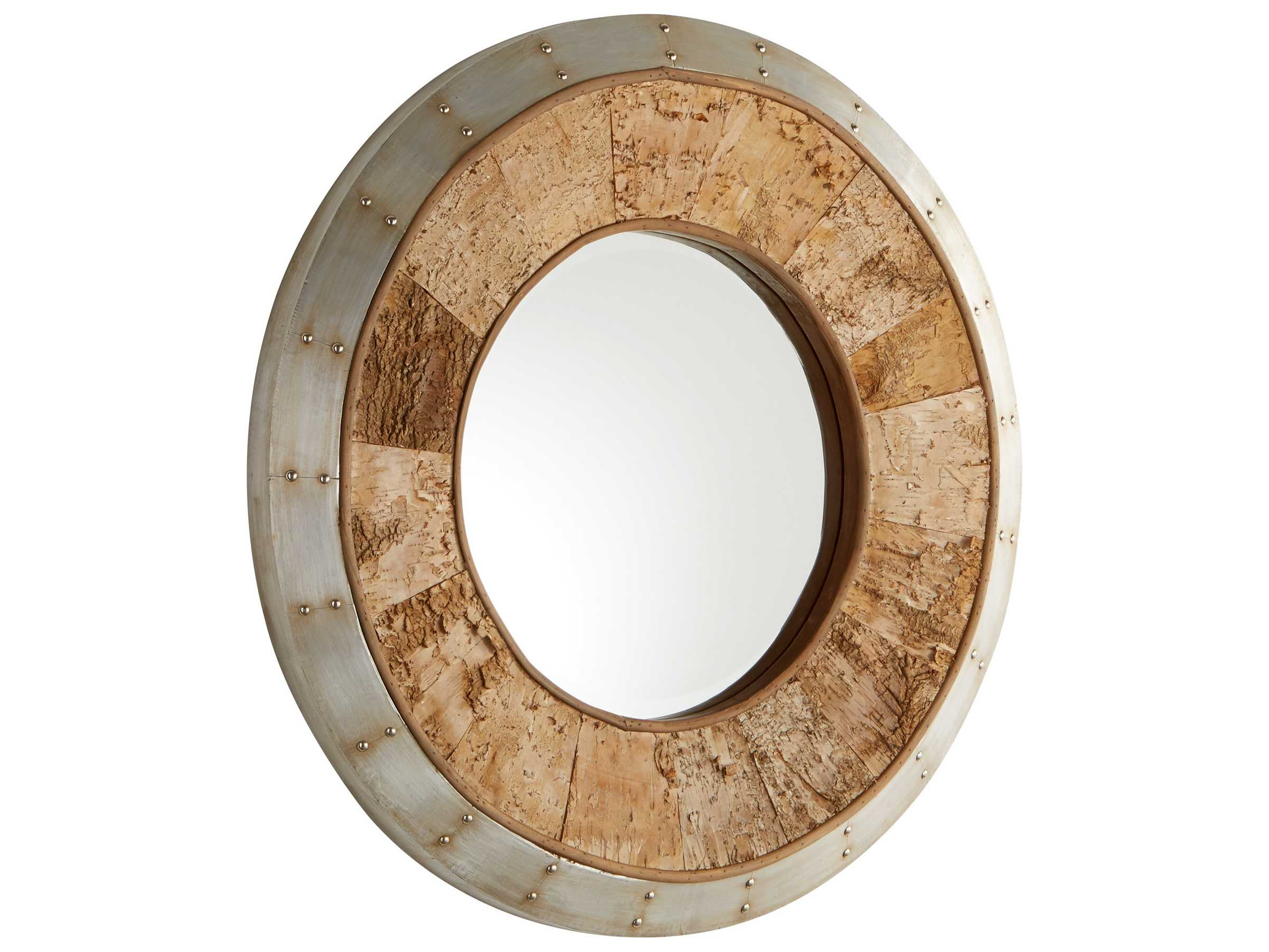 Cyan Design Avante Galvanized Metal & Oak 32'' Wide Round Wall Mirror In Round Galvanized Metallic Wall Mirrors (View 14 of 20)