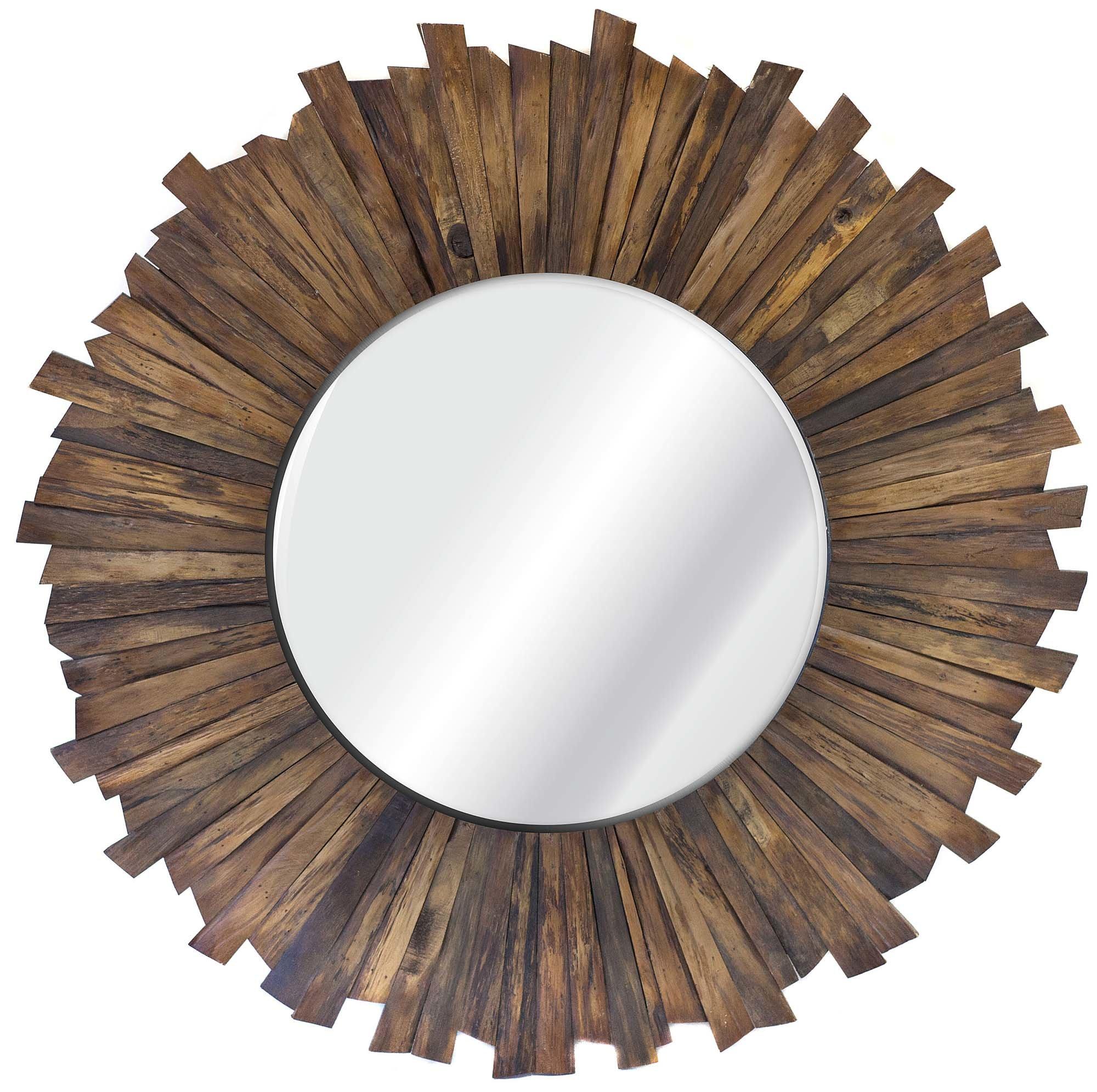 Dandir Accent Mirror Regarding Perillo Burst Wood Accent Mirrors (View 6 of 20)