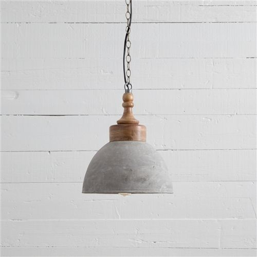 Dane Concrete Dome With Wood Cap | Kitchen Area In 2019 Within Adriana Black 1 Light Single Dome Pendants (Image 16 of 25)