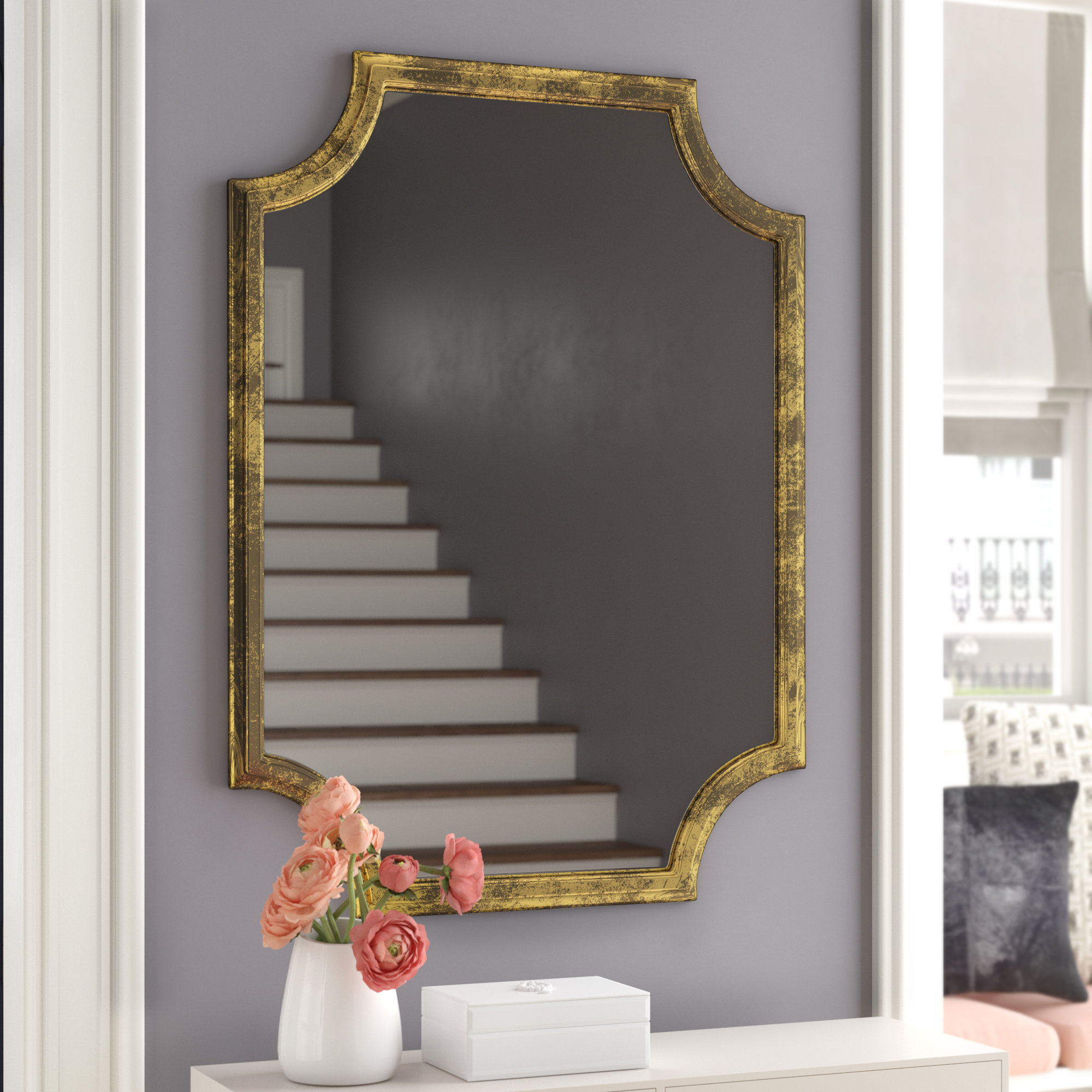 Danica Metallic Accent Traditional Wall Mirror With Reba Accent Wall Mirrors (View 4 of 20)