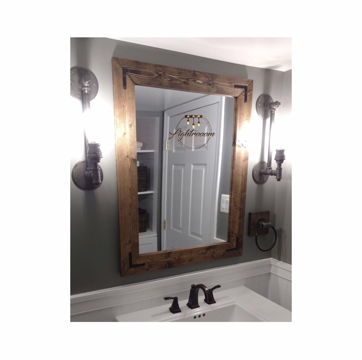 Dark Walnut Mirror, Framed Mirror, Rustic Wood, Bathroom For Walnut Wood Wall Mirrors (View 19 of 20)