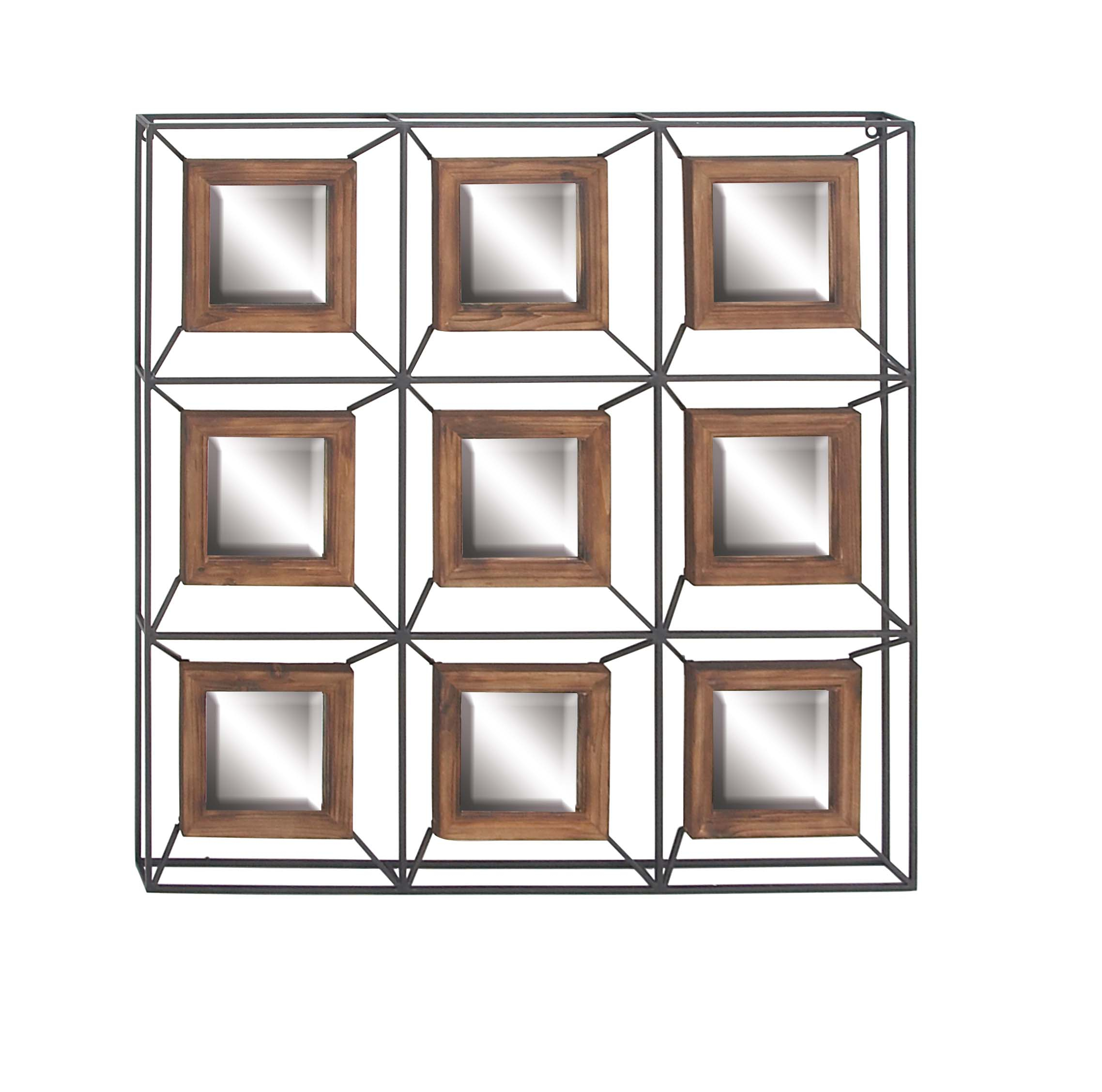 Decmode Contemporary Metal And Fir Wood Grid Wall Mirror, Gray Regarding Traditional Square Glass Wall Mirrors (Image 2 of 20)