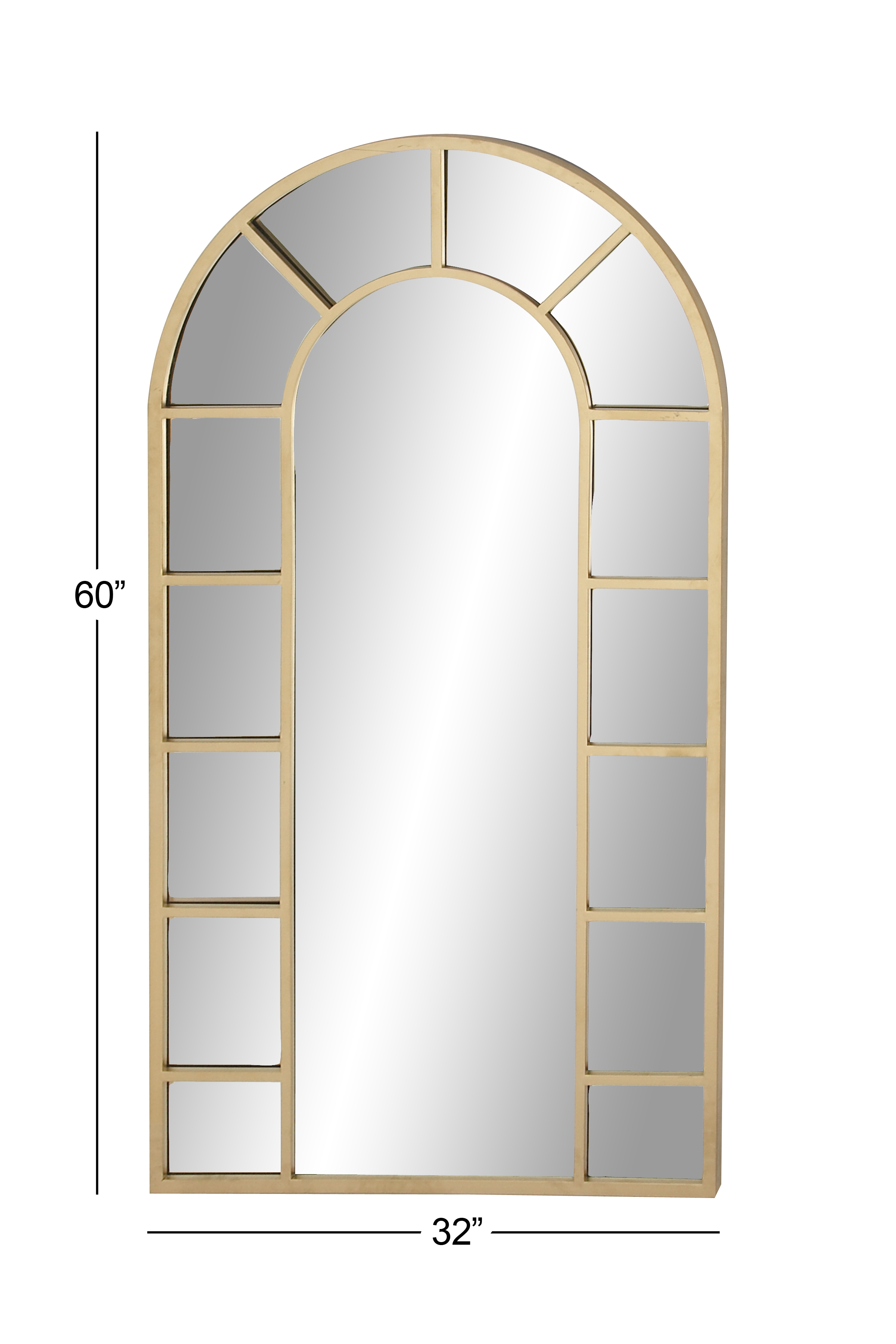 Decmode Contemporary Wood And Metal Arched Gold Wall Mirror, Gold In Arch Vertical Wall Mirrors (Image 9 of 20)