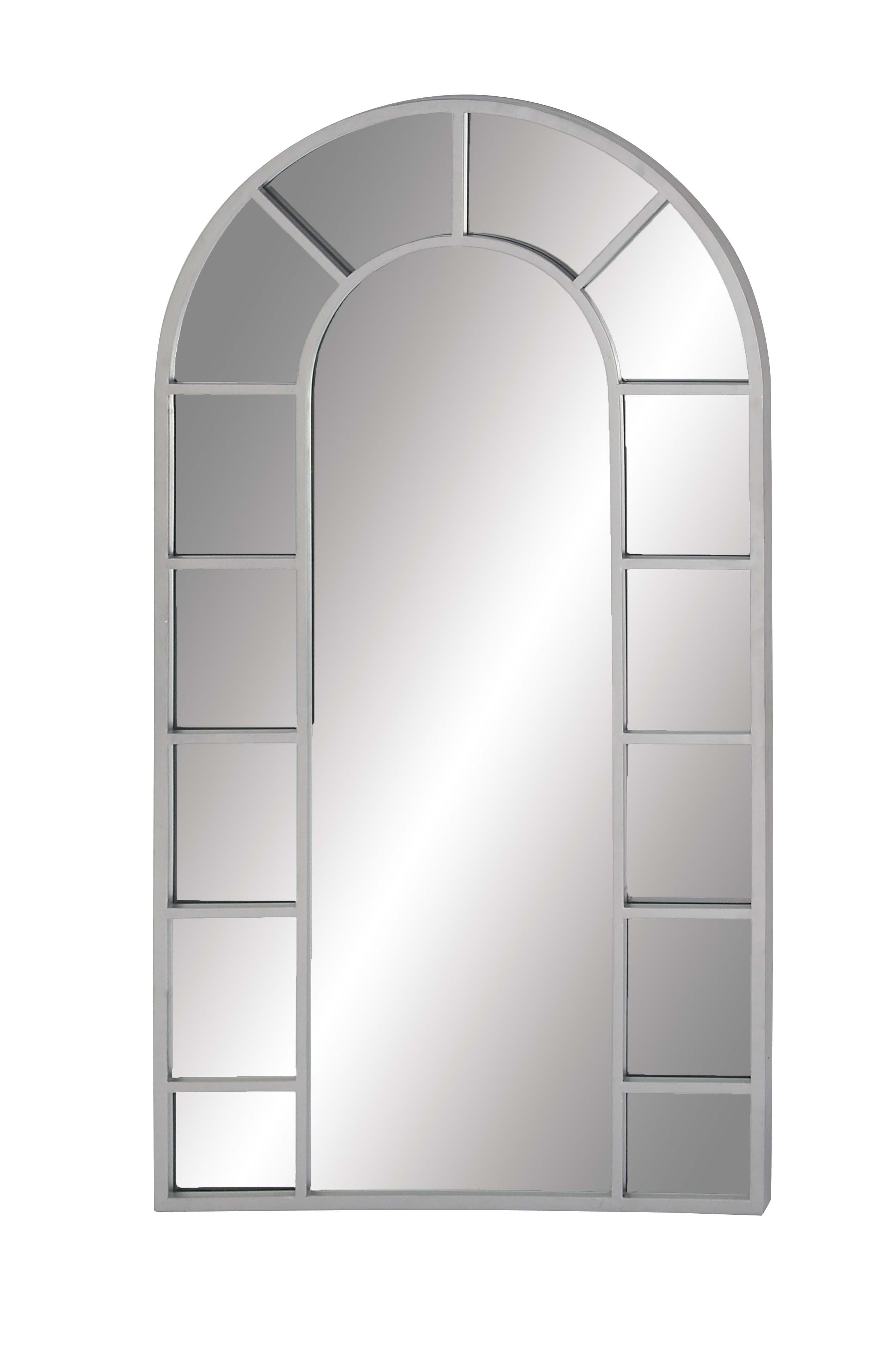 Decmode Contemporary Wood And Metal Arched White Wall Mirror, White Inside Arch Vertical Wall Mirrors (Image 10 of 20)