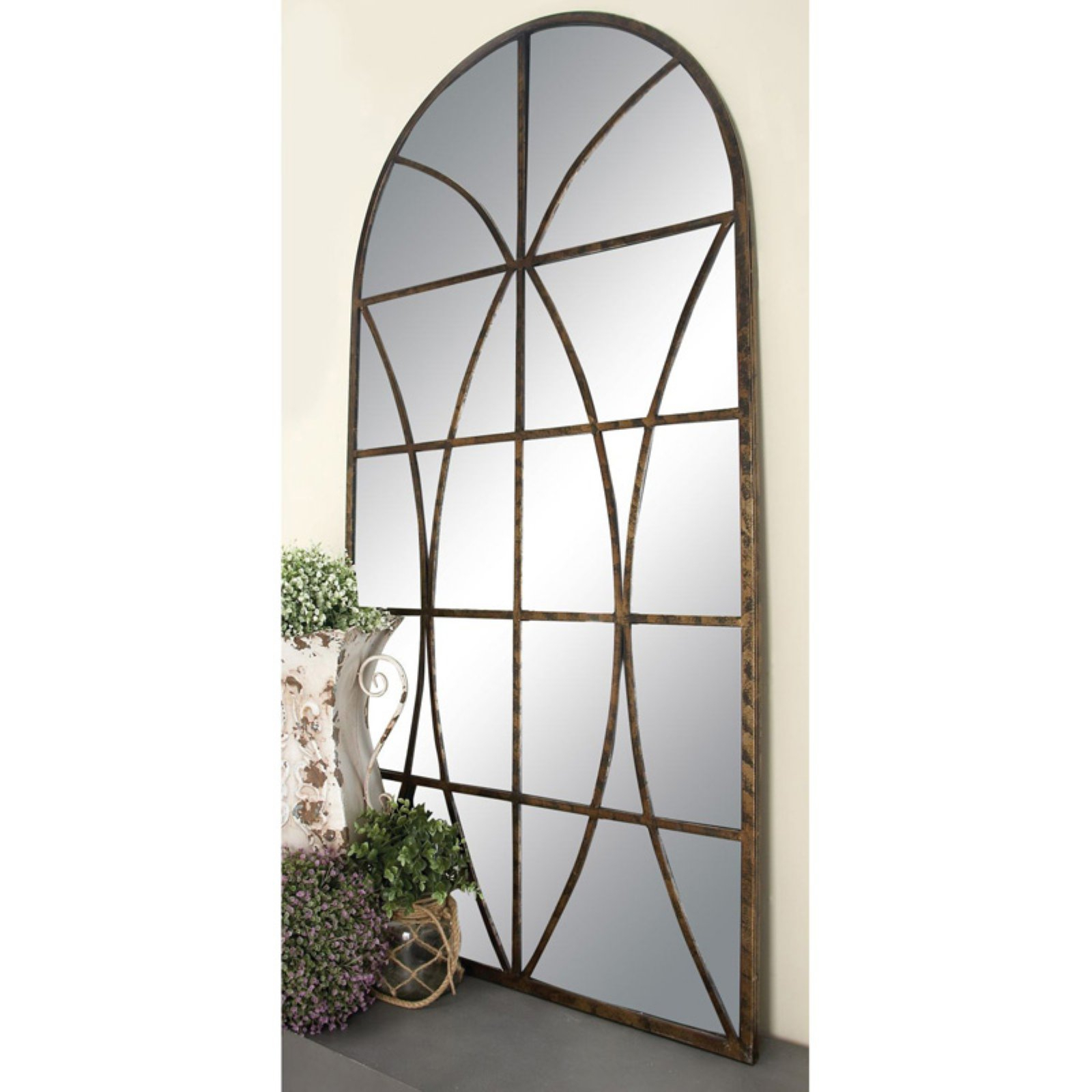 Decmode Metal And Wood Window Pane Arch Mirror, Brown Pertaining To Metal Arch Window Wall Mirrors (Image 5 of 20)