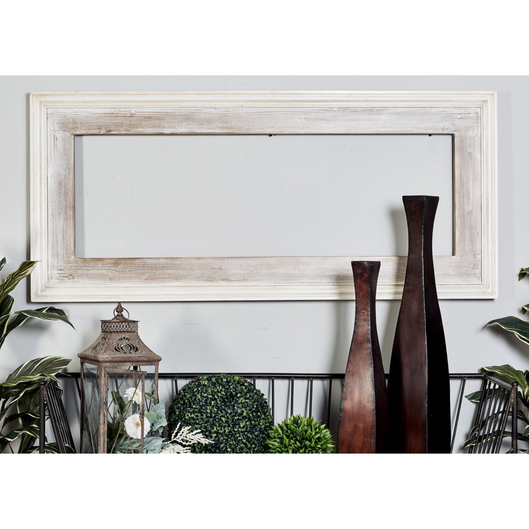 Decmode Wooden Rectangular Beveled Wall Mirror – 30W X 67H Within 2 Piece Priscilla Square Traditional Beveled Distressed Accent Mirror Sets (View 15 of 20)