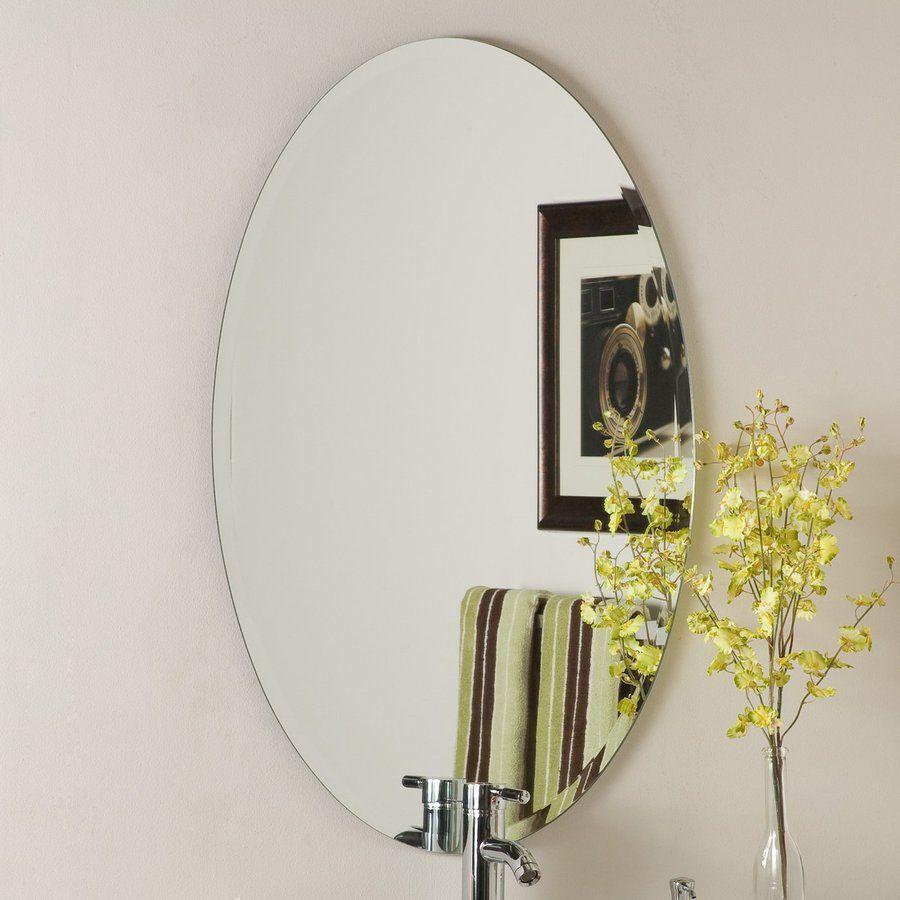 Decor Wonderland 24 In W X 36 In H Oval Frameless Bathroom Inside Traditional Frameless Diamond Wall Mirrors (Image 3 of 20)