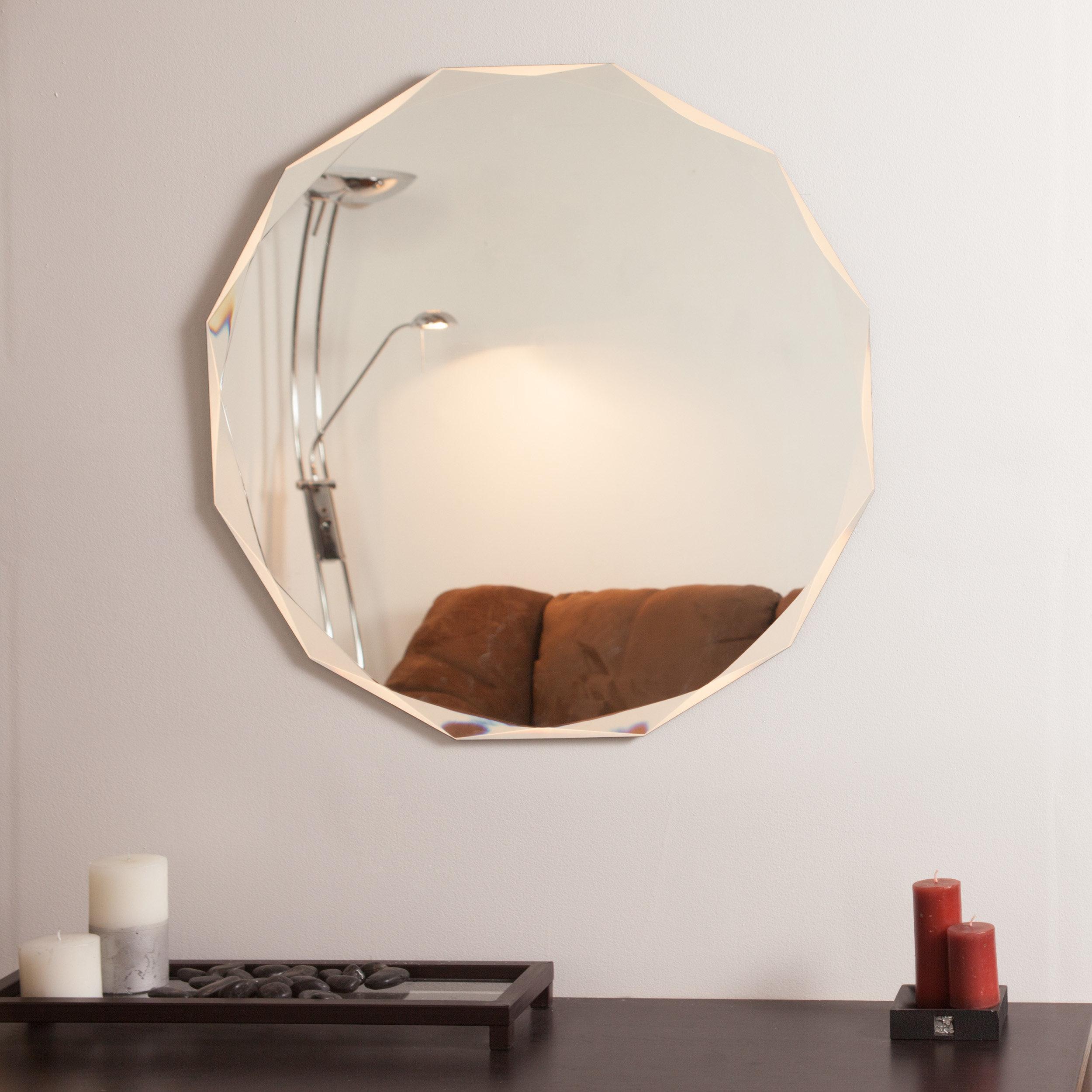 Decor Wonderland Frameless Diamond Wall Mirror & Reviews Pertaining To Traditional Frameless Diamond Wall Mirrors (View 10 of 20)