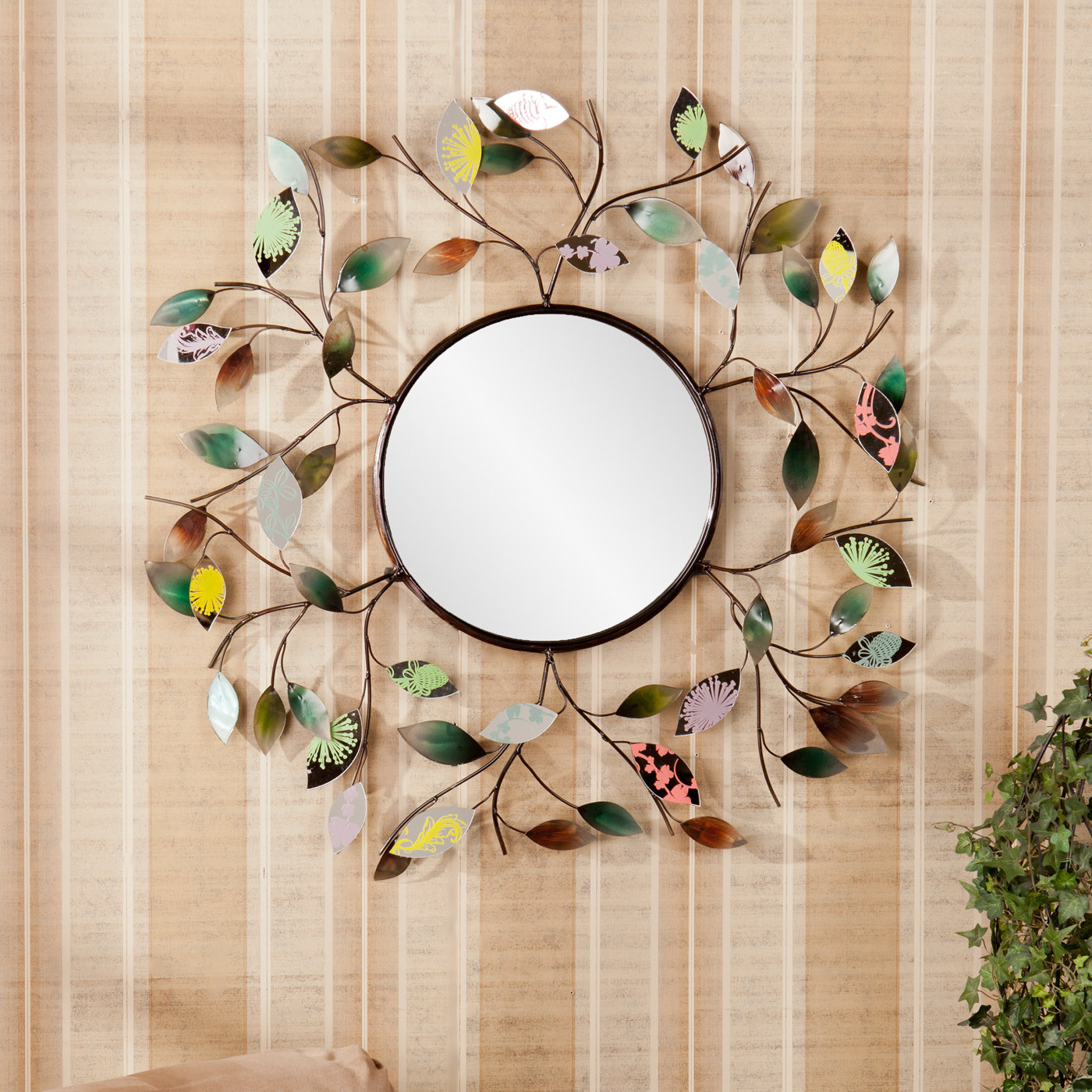Decorative Metallic Leaf Wall Mirror In Carstens Sunburst Leaves Wall Mirrors (Image 4 of 20)