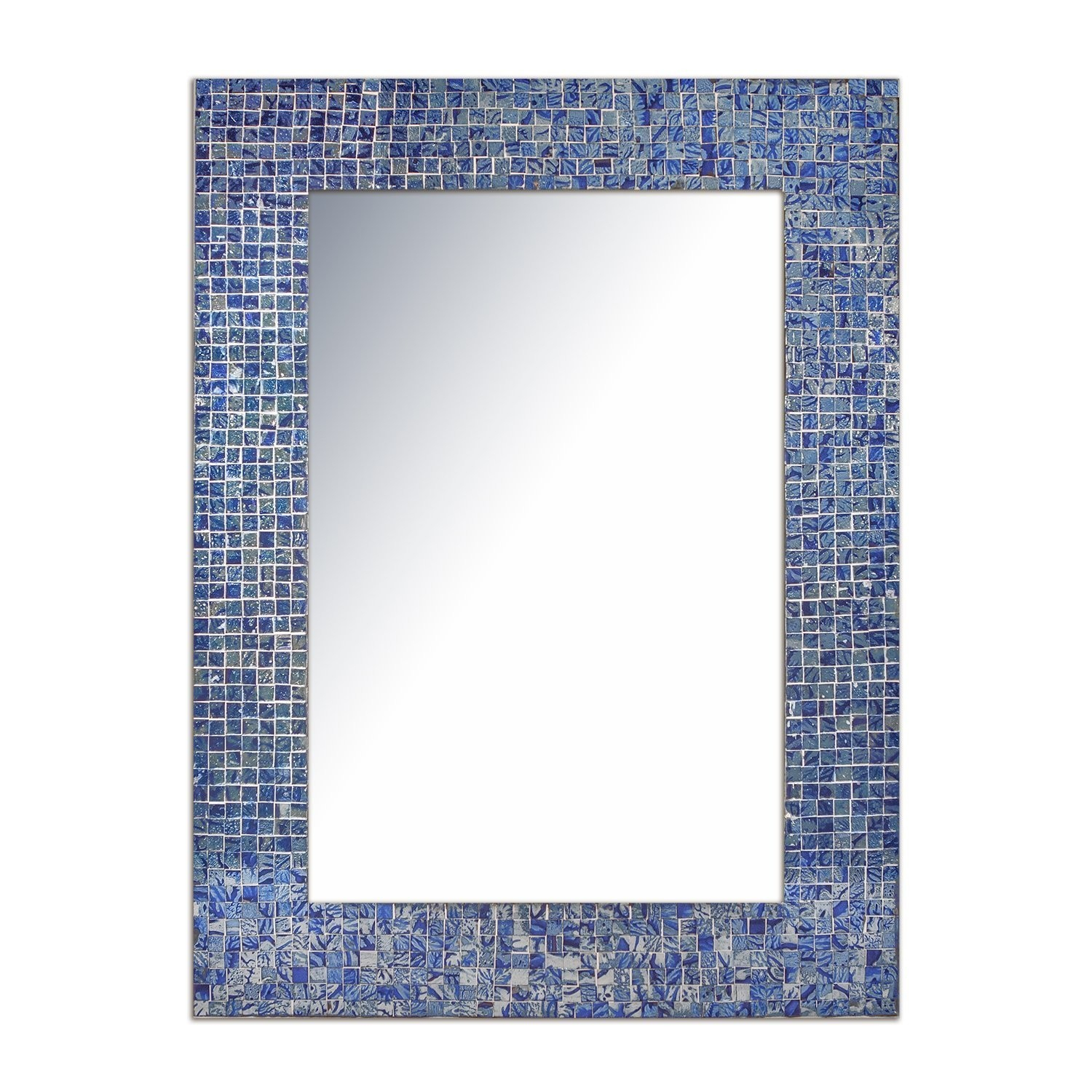 """Decorshore 24""""x18"""" Accent Rectangular Decorative Mosaic Wall Mirror With  Glass Tile Frame In Sapphire & Silver Hues With Silver Frame Accent Mirrors (View 6 of 20)"""