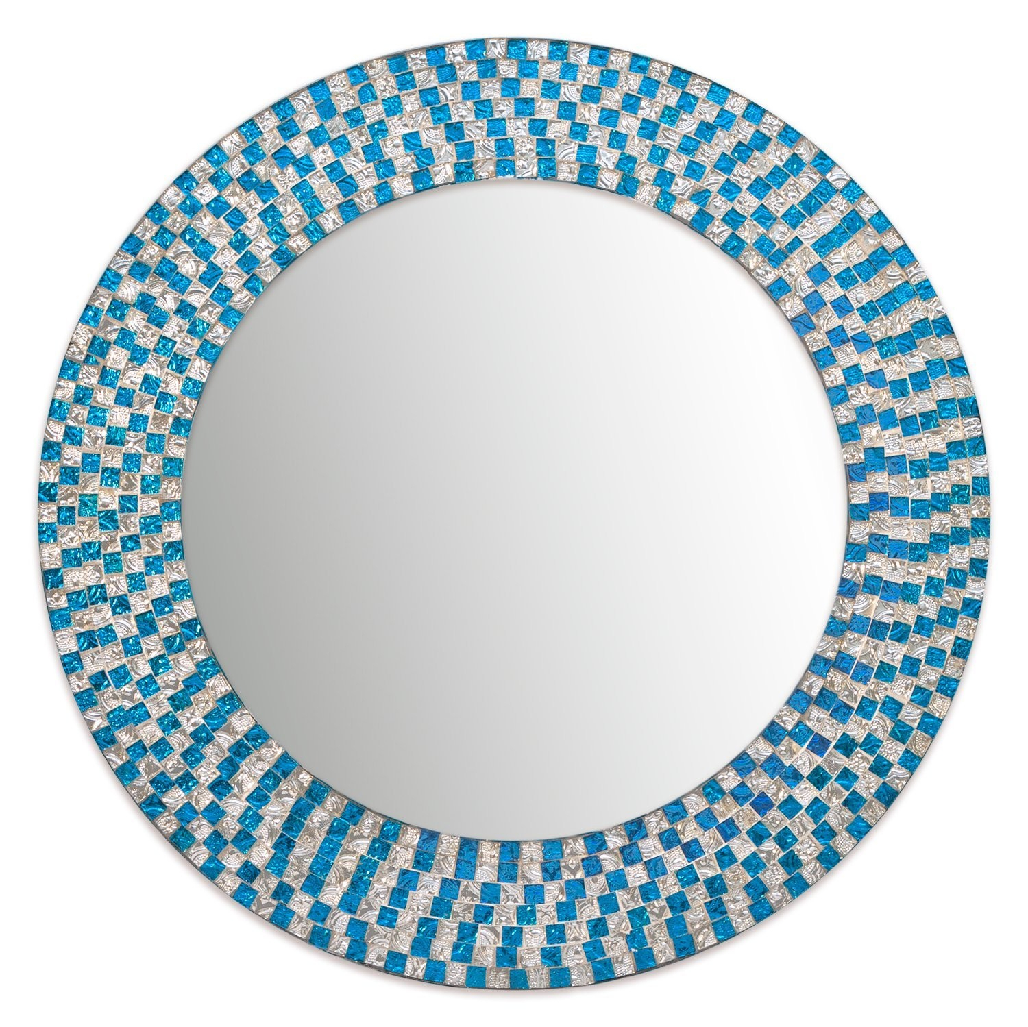 Decorshore Jewel Tone Accent Round Decorative Wall Mirror Inside Silver Frame Accent Mirrors (View 16 of 20)