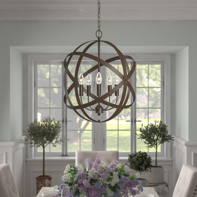 Della 5 Light Globe Chandelier Within Waldron 5 Light Globe Chandeliers (Image 3 of 20)
