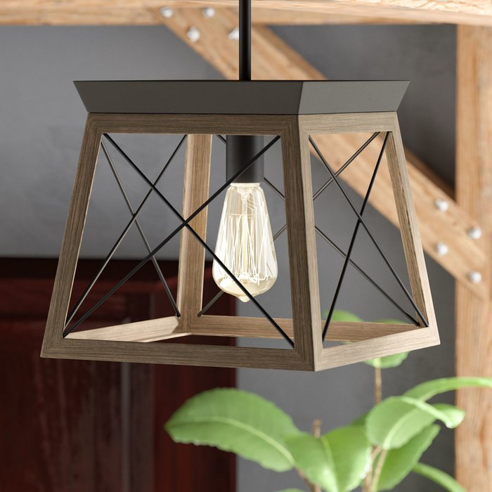 Delon 1 Light Lantern Geometric Pendant Intended For Delon 1 Light Lantern Geometric Pendants (Image 3 of 20)