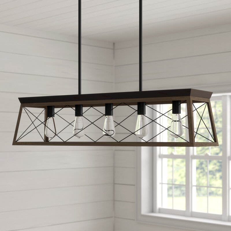 Delon 5 Light Kitchen Island Linear Pendant With Delon 5 Light Kitchen Island Linear Pendants (Image 20 of 25)