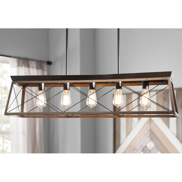 Delon 5 Light Kitchen Island Linear Pendant With Regard To Delon 5 Light Kitchen Island Linear Pendants (Image 22 of 25)