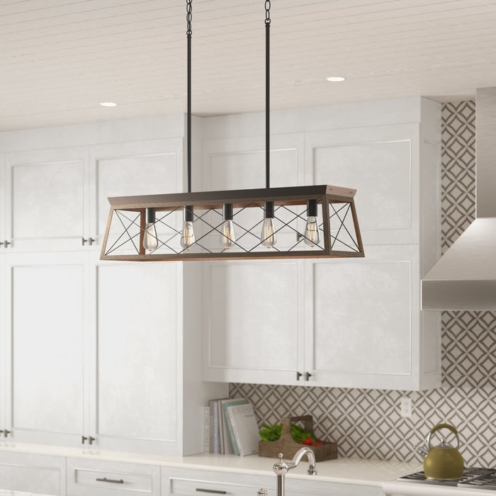 Delon 5 Light Kitchen Island Linear Pendant With Regard To Delon 5 Light Kitchen Island Linear Pendants (Image 21 of 25)
