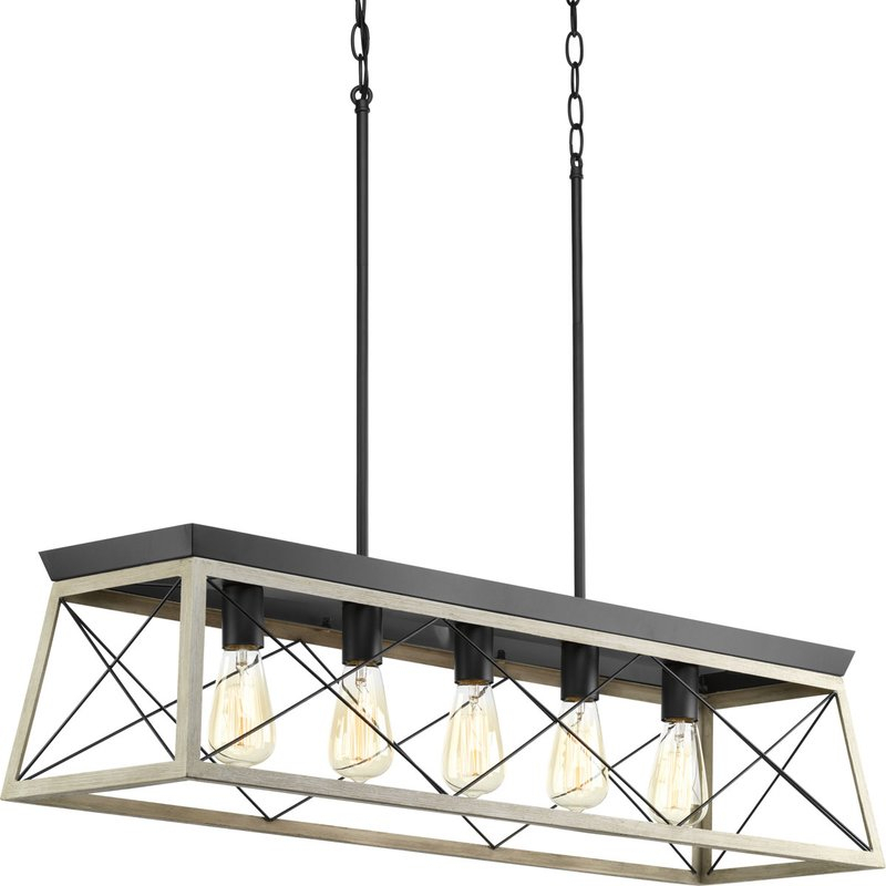 Delon 5 Light Kitchen Island Linear Pendant With Regard To Jefferson 4 Light Kitchen Island Linear Pendants (View 19 of 25)