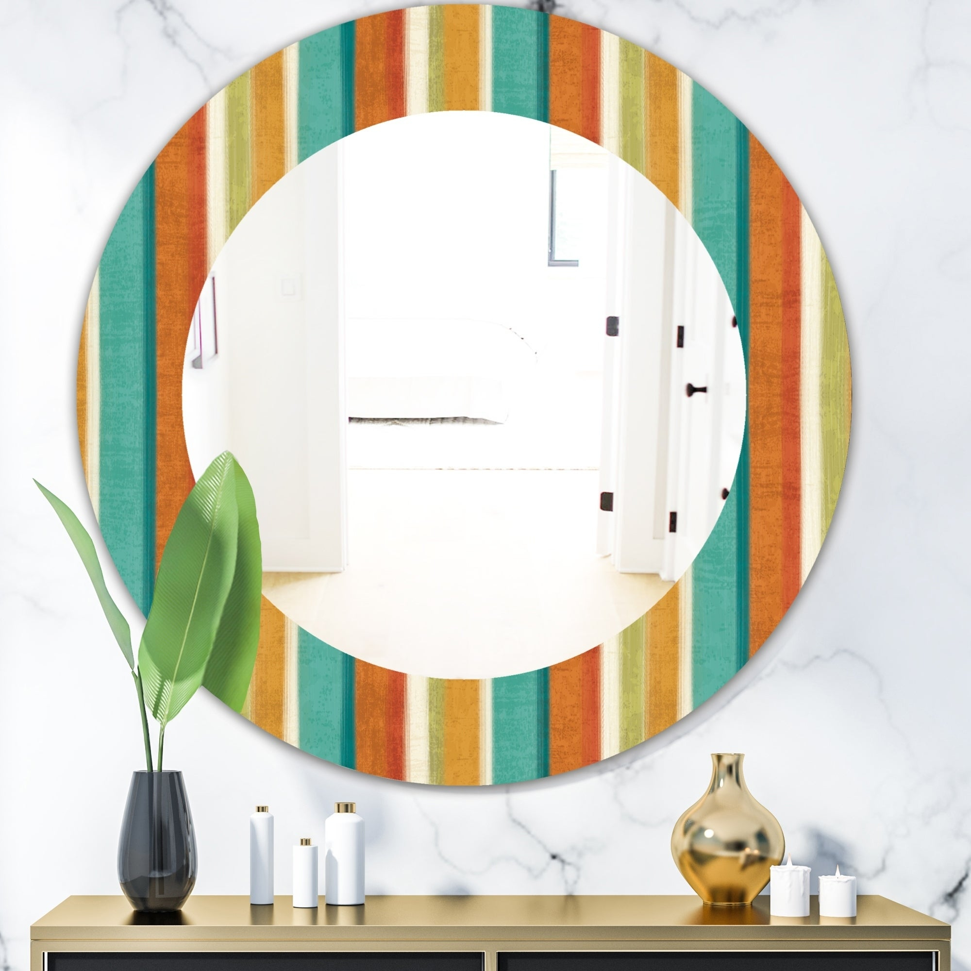 Designart 'blue, Green And Orange Vertical Abstract Stripes' Mid Century  Mirror – Oval Or Round Wall Mirror – Multi Regarding Vertical Round Wall Mirrors (Image 8 of 20)