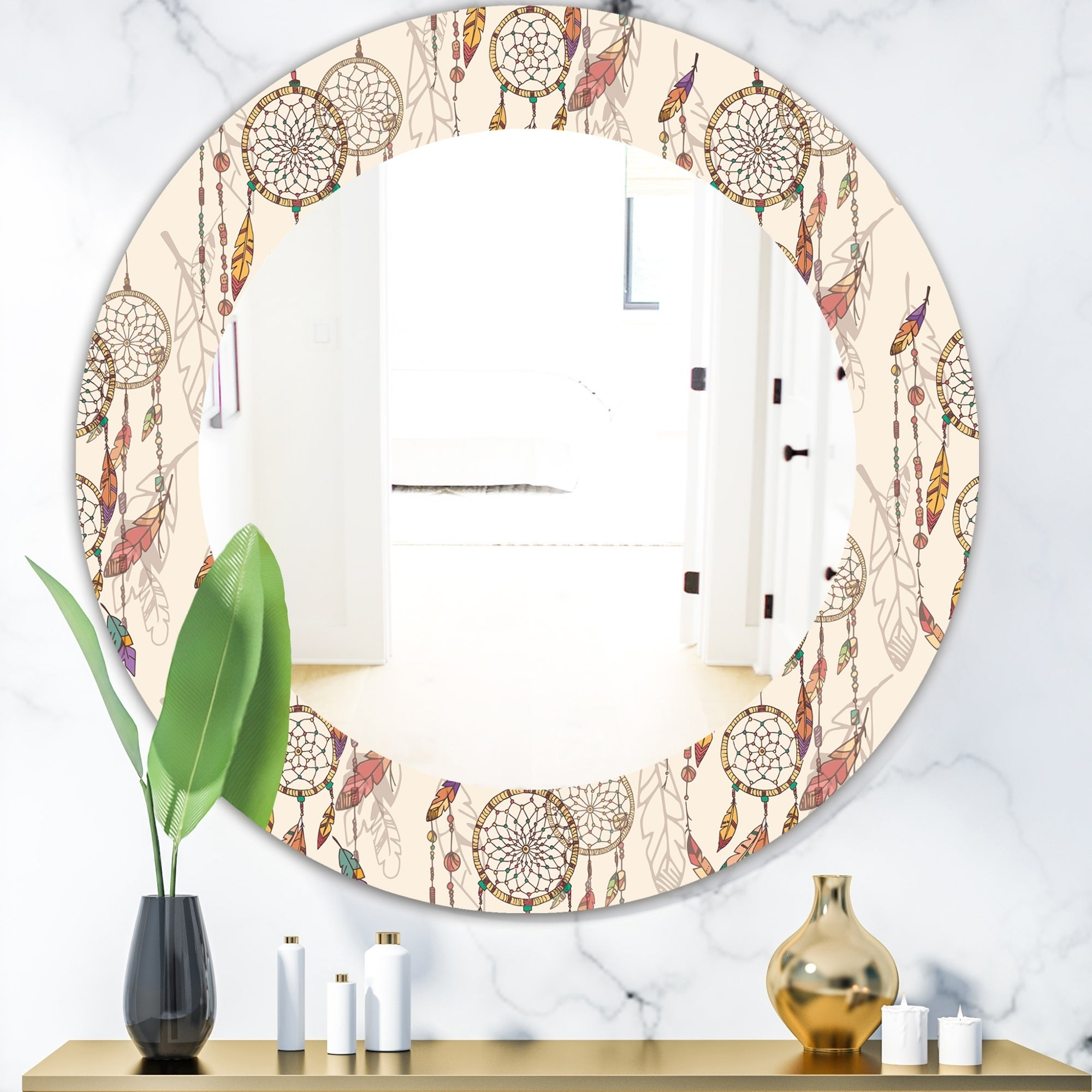 Designart 'bohemian Dream Catcher With Beads & Feathers' Bohemian &  Eclectic Mirror – Oval Or Round Wall Mirror – Brown With Round Eclectic Accent Mirrors (Photo 10 of 20)