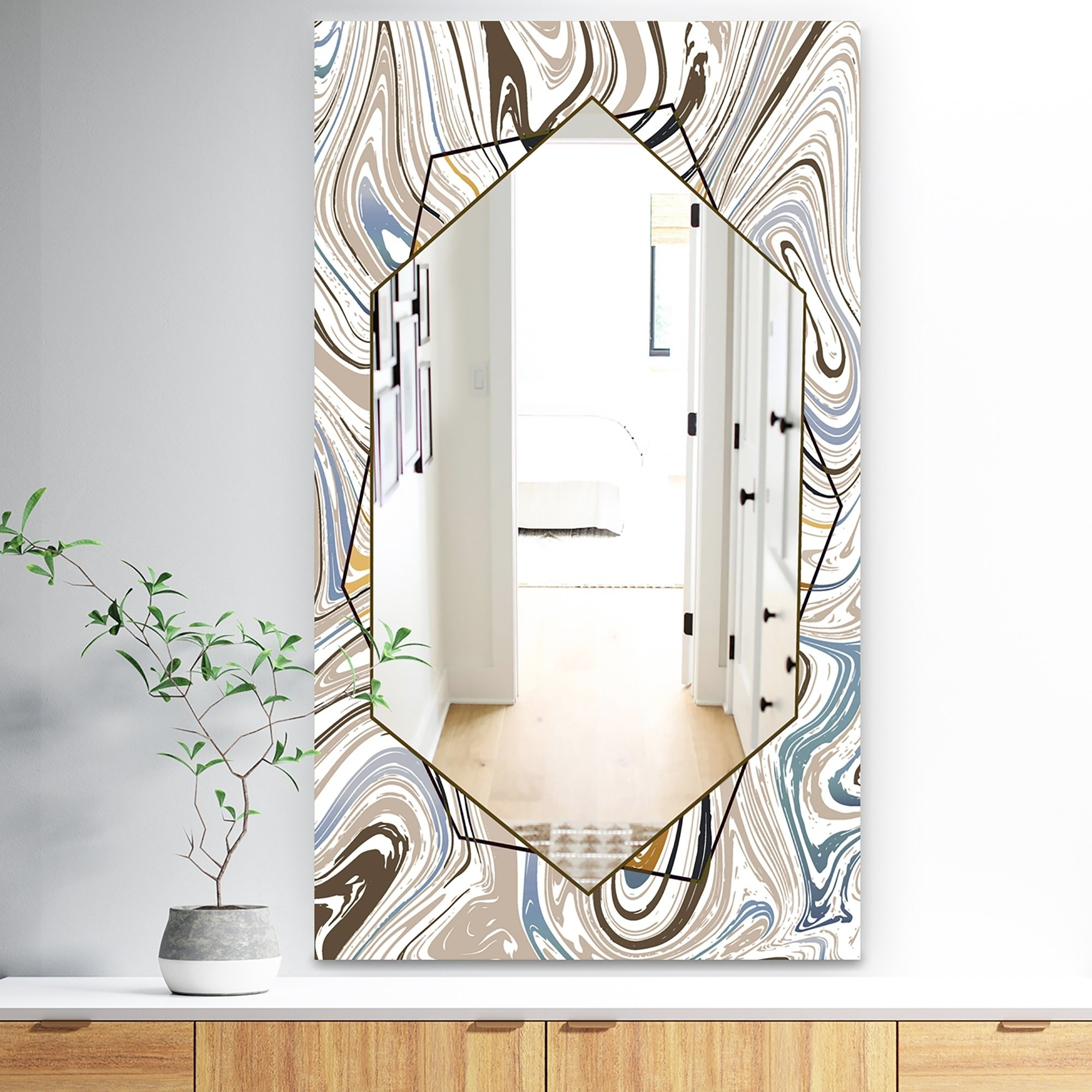 Designart 'marbled Diamond 18' Bohemian And Eclectic Mirror Inside Sartain Modern & Contemporary Wall Mirrors (View 17 of 20)