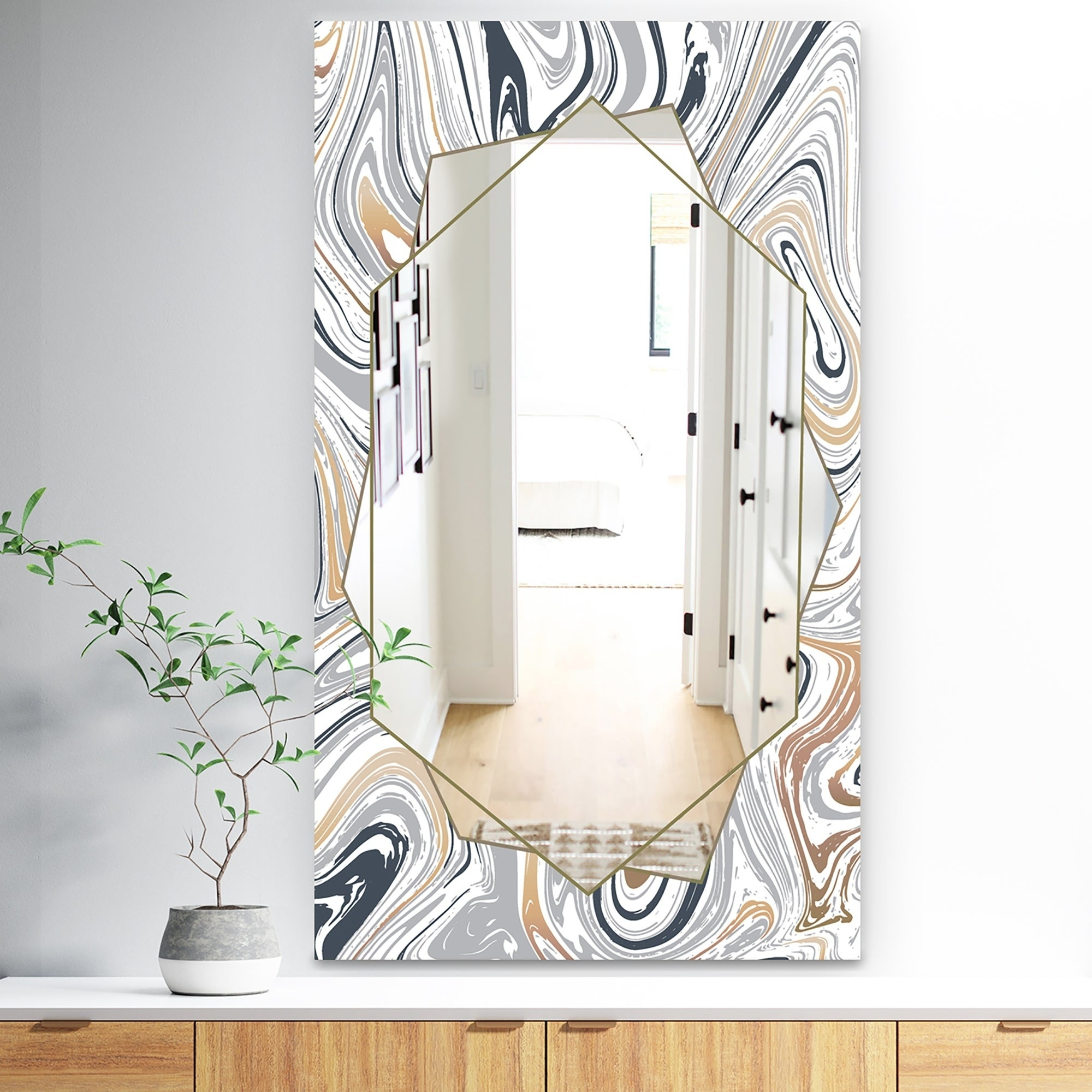 Designart 'marbled Diamond 19' Traditional Mirror – Vanity Mirror – Grey In Traditional Frameless Diamond Wall Mirrors (Image 7 of 20)
