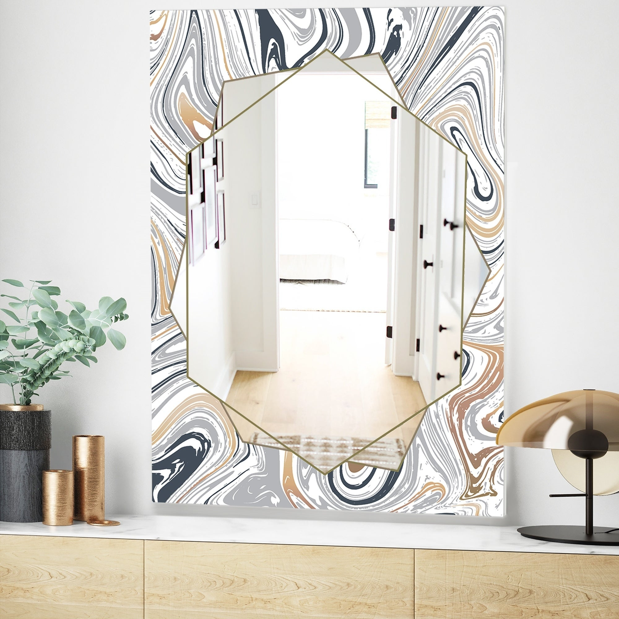 Designart 'marbled Diamond 19' Traditional Mirror – Vanity Mirror – Grey In Traditional Frameless Diamond Wall Mirrors (Image 6 of 20)
