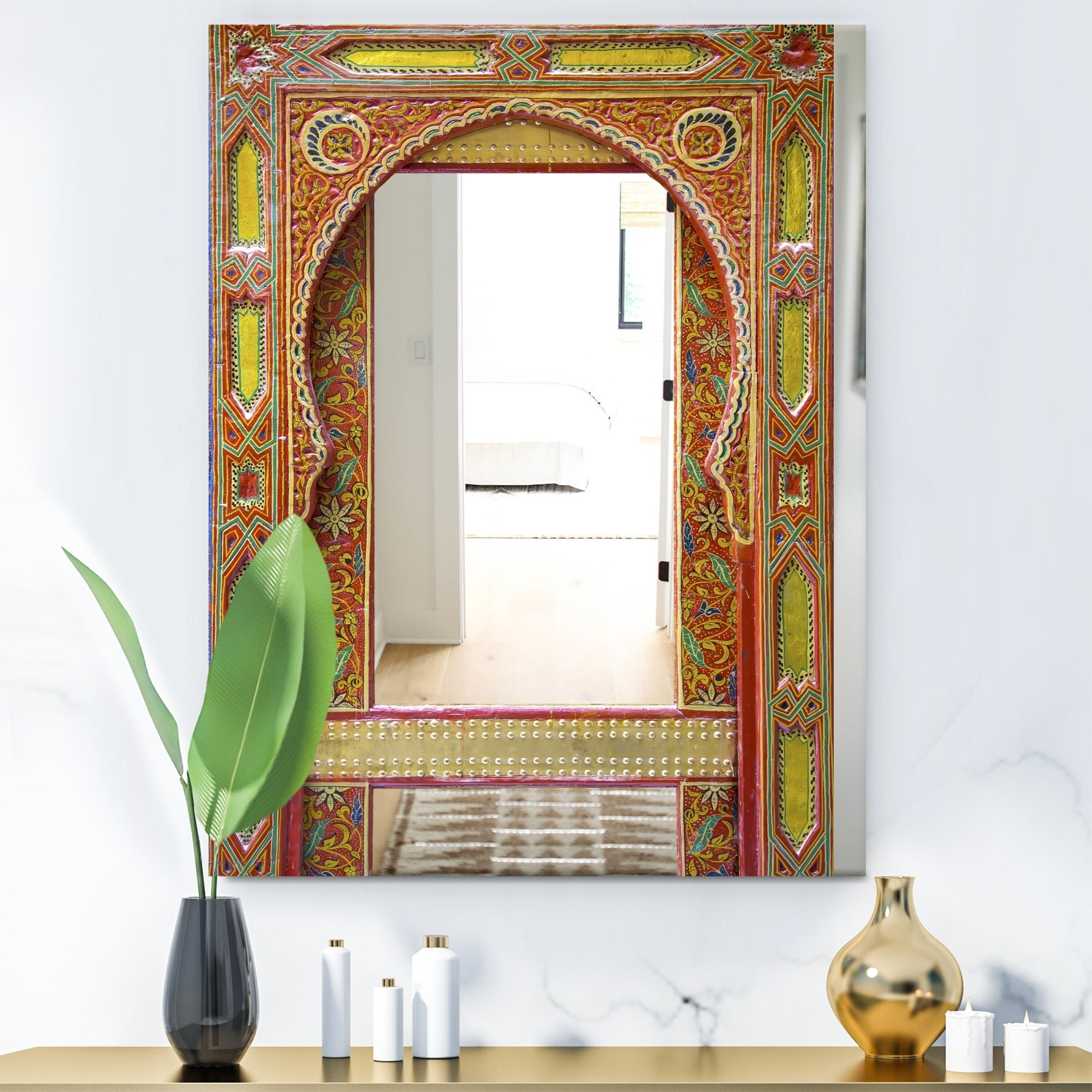Designart 'moroccan Entrance Door' Traditional Multi Large Wall Mirror Intended For Bracelet Traditional Accent Mirrors (View 17 of 20)