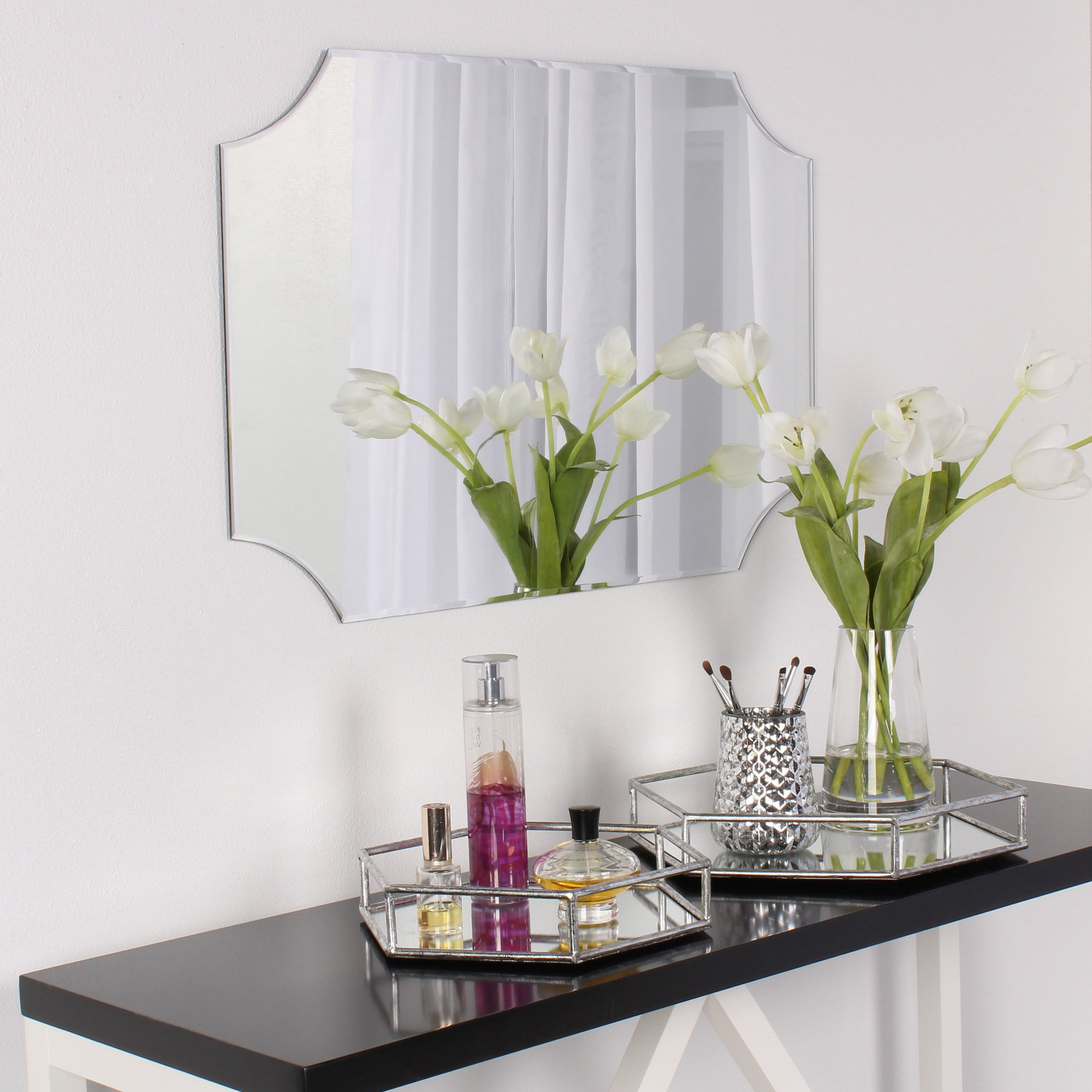 Designovation Reign Frameless Rectangle Scalloped Beveled Mirror – Silver – 19X28 Intended For Reign Frameless Oval Scalloped Beveled Wall Mirrors (View 5 of 20)