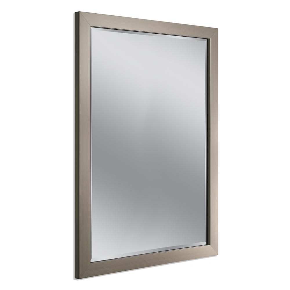 Destiny Brushed Nickel Wall Mirror Deco 44 In #16187 Inside Hogge Modern Brushed Nickel Large Frame Wall Mirrors (Image 6 of 20)