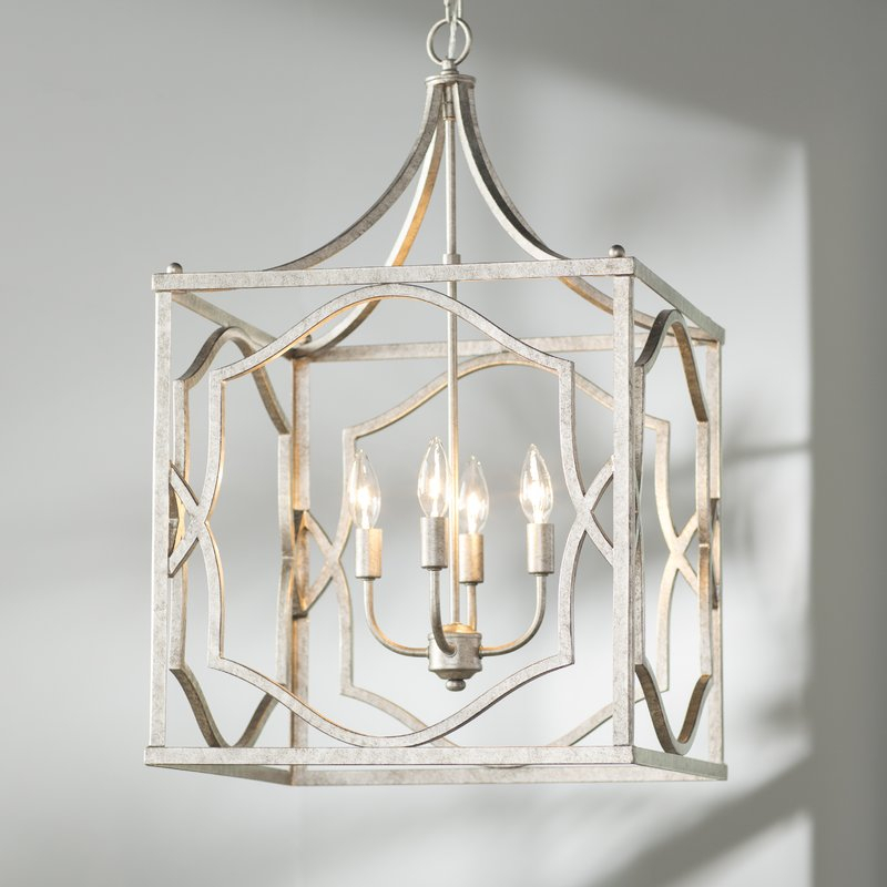 Destrey 4 Light Lantern Square / Rectangle Pendant With Regard To 4 Light Lantern Square / Rectangle Pendants (Image 9 of 20)