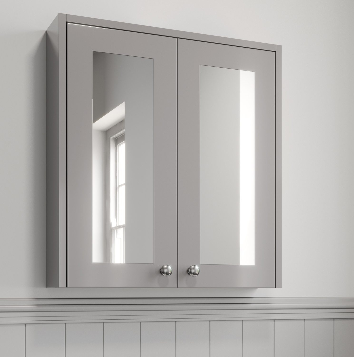Details About 600Mm Bathroom Mirror Cabinet 2 Door Storage Cupboard Wall  Hung Grey Traditional In Polen Traditional Wall Mirrors (View 5 of 20)
