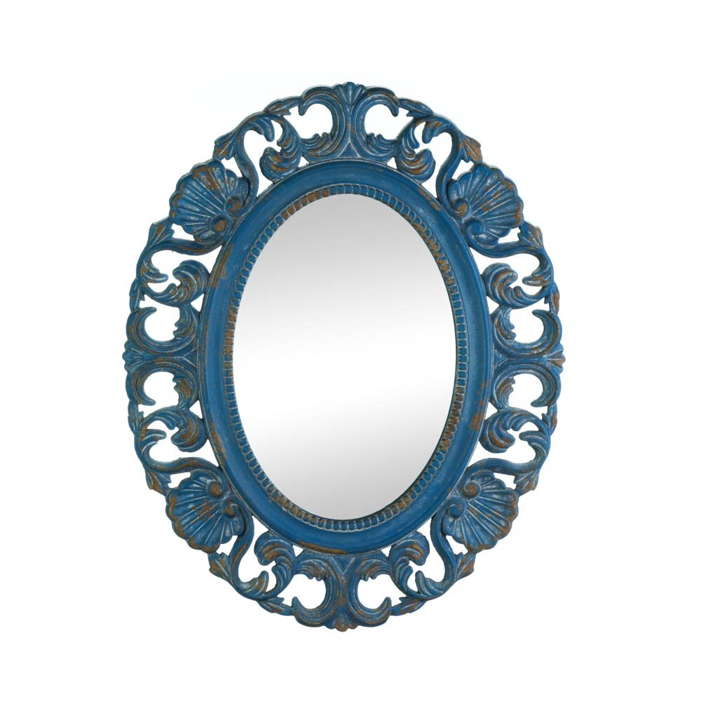 Details About Bathroom Wall Mirrors, Oval Vintage Blue Mdf Wood Frame  Mirror For Wall Decor Pertaining To Oval Wood Wall Mirrors (View 10 of 20)